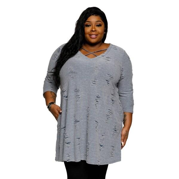 Shop Xehar Womens Plus Size Distressed Crisscross V Neck Sweater