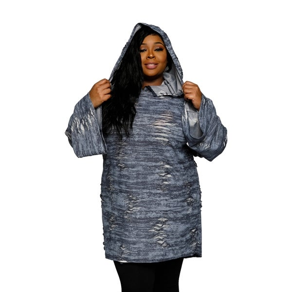 eb1f3c3a8e9 Shop Xehar Womens Plus Size Distressed Oversized Hoodie Sweater ...