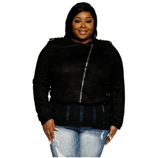 Xehar Womens Plus Size Stylish Faux Suede Cropped Moto Jacket