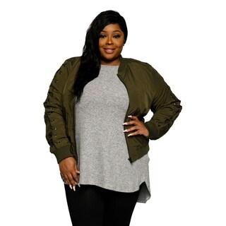 Xehar Womens Plus Size Grommet Lace Up Long Sleeve Bomber Jacket
