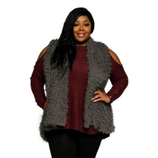 Xehar Womens Plus Size Sleeveless Faux Fur Open Front Sweater Vest