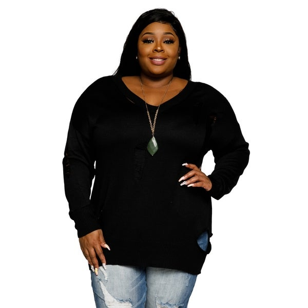 Shop Xehar Womens Plus Size Distressed Ribbed V Neck Pullover