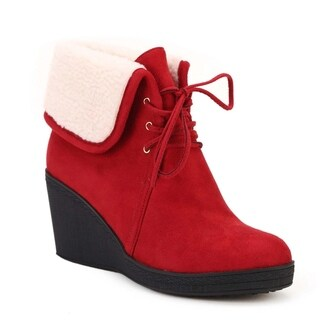Women's 'Natale' Red Wedge Boots