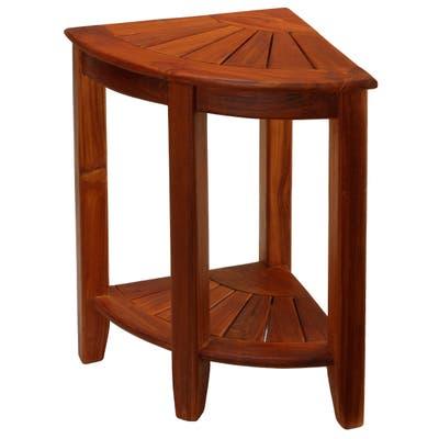 "Bare Decor Elana Tall Corner Spa Shower Stool in Solid Teak Wood, 24""H"