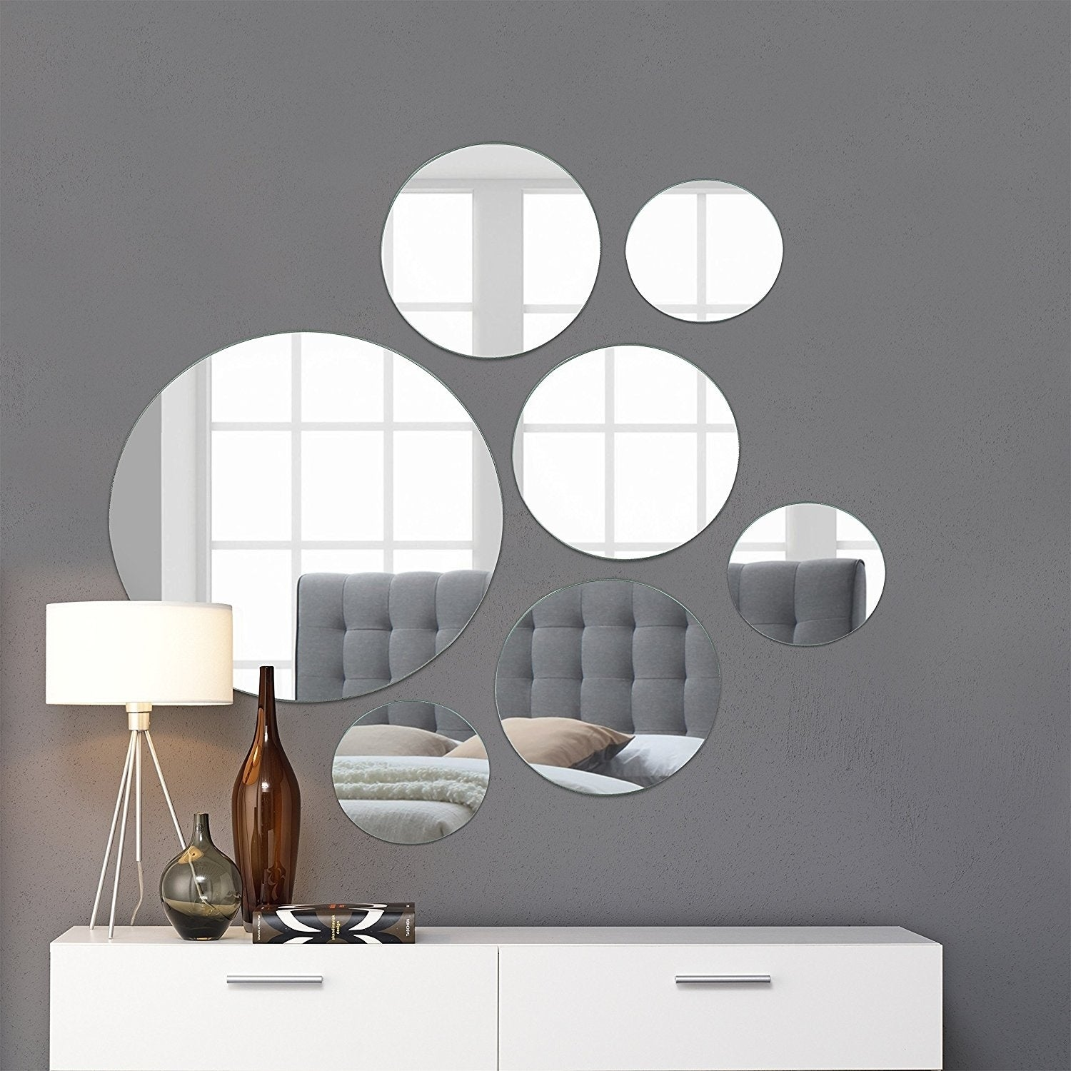 Light Round Wall Mirror Mounted Assorted Sizes - Silver -...