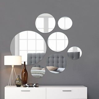 "Round Wall Mirror Mounted Assorted Sizes - Silver - 1 large 10"" , 3 medium 7"" , 3 small 4"" ,set of 7"