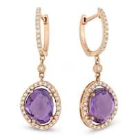 Iced Showroom 14K Rose Gold Round Amethyst & Diamond Dangle Earrings