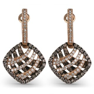 14K Rose Gold Earrings; Round Brown Diamond Dangling Earrings with Leverback Clasp