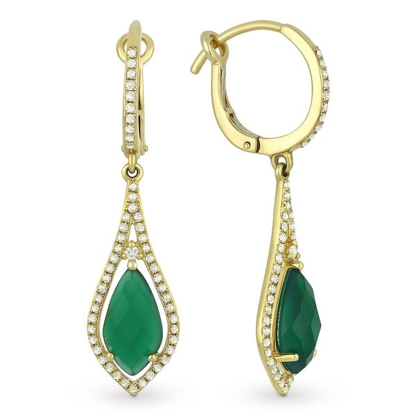3c792a0296970 14K Yellow Gold Dangling Earrings with White Diamonds; Marquise Green Agate  with Leverback Clasp