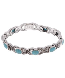 Glitzy Rocks Sterling Silver Marcasite & Turquoise X/O Bracelet