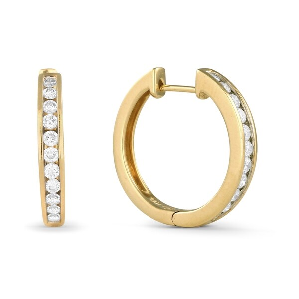 391cbdc2c60467 Shop 14K Yellow Gold Earrings; Round White Diamond Hoop Earrings with  Leverback Clasp - Free Shipping Today - Overstock - 18822863