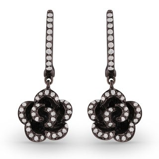 Aria Designs Black Gold Round Cut Diamond Dangling Earrings - White