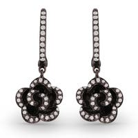 14K White Gold Earrings; Round White Diamond Dangling Earrings with Leverback Clasp