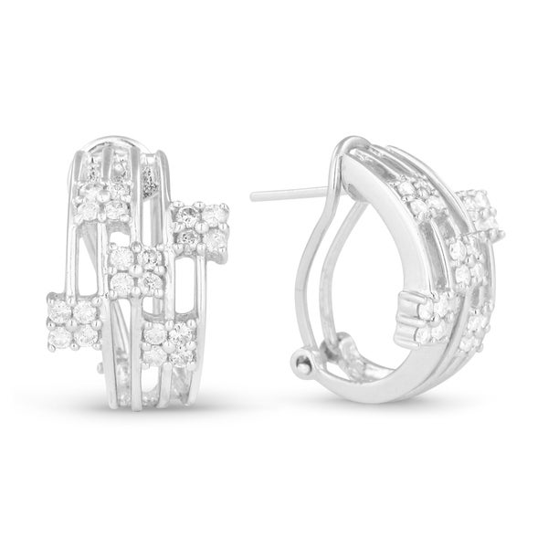 14k White Gold Earrings Round Diamond Hoop With Omega Clasp