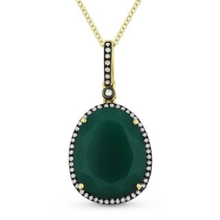 Aria Designs Green Agate and Diamond Pendant in Rose Gold