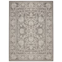 Jasmin Collection Contemporary Ivory/Grey/Navy Oriental Mahal Design Area Rug - 7' 10 x 9'10