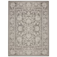 "Jasmin Collection Contemporary Ivory/Grey/Navy Oriental Mahal Design Area Rug (7' 10 x 9'10) - 7'10"" x 9'10"""