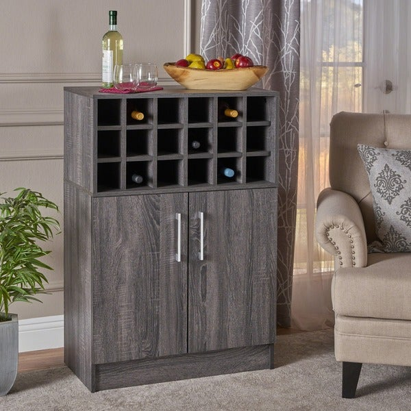 Roula Mid Century Wood Wine And Bar Cabinet By Christopher Knight Home