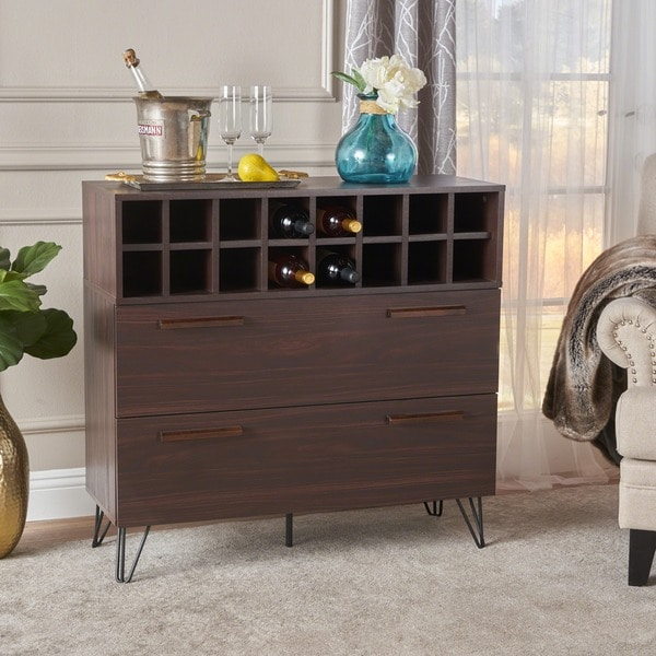 Amelia Mid-Century Wood Wine and Bar Cabinet by Christopher Knight Home. Opens flyout.