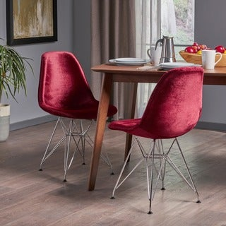 Wilmette Mid-Century Velvet Eiffel Dining Chair (Set of 2) by Christopher Knight Home