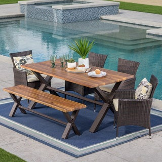 Link to Ozark Outdoor 6-Piece Rectangle Wicker Wood Dining Set with Cushions by Christopher Knight Home Similar Items in Patio Furniture