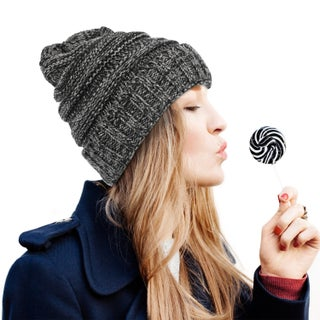 Zodaca Unisex Oversized Wavy Cable Knit Slouchy Beanie Knit Hat Skull Cap for Men and Women