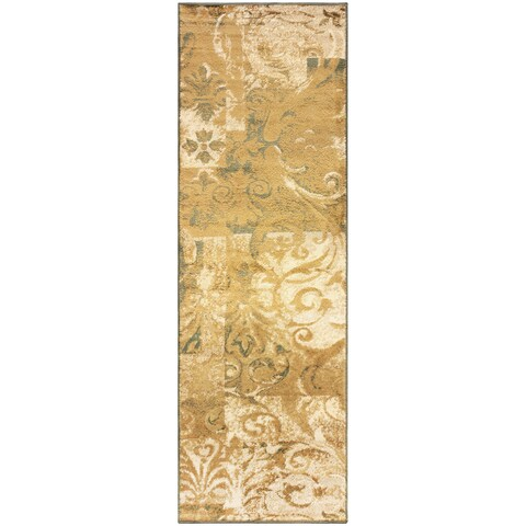 "Superior Designer Modern Scroll Runner Rug - 2'7"" x 8'"