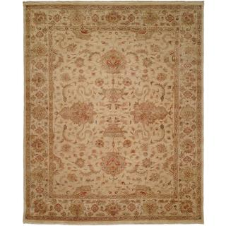 Traditional Ivory/Sage Hand-Knotted Area Rug (12' x 18') - 12' x 18'