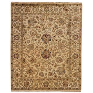 Jaipura Ivory Wool Hand-knotted Floral Area Rug (12' x 15')