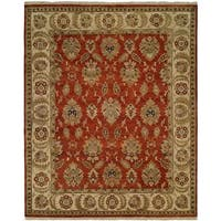 Pasha Rust/Ivory Wool Cotton Hand-Knotted Area Rug (12' x 15')