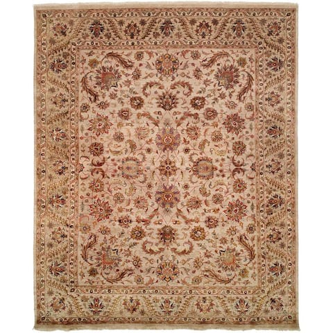 Tabernacle Ivory Wool and Silk Hand-knotted Area Rug
