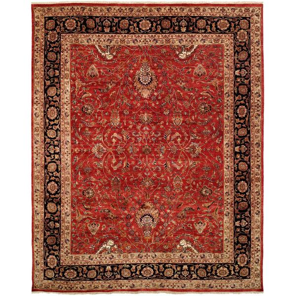 Tabernacle Rust/Black Hand-Knotted Area Rug (11' x 16') - 11' x 16'