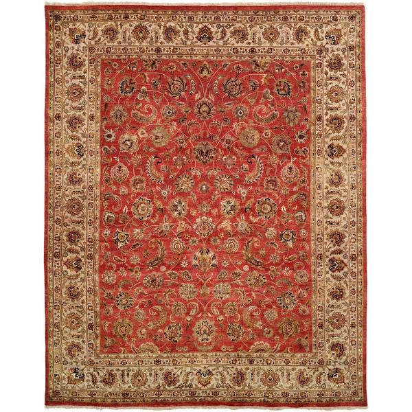 Tabernacle Rust/Ivory Hand-Knotted Area Rug (12' x 15') - 12' x 15'
