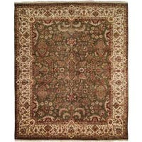 Tabriz Green/Ivory Hand-Knotted Area Rug (12' x 18') - 12' x 18'