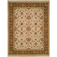 Caspian Ivory/Brown Wool Soumak Area Rug