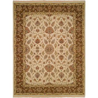 Caspian Ivory/Brown Wool Soumak Area Rug (8' x 8')
