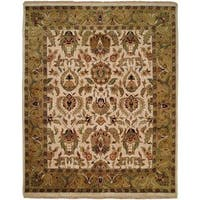 Jaipura Ivory/Gold Wool Hand-knotted Square Area Rug (8')