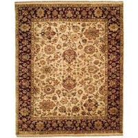 Jaipura Ivory/Plum Wool Hand-knotted Floral Area Rug (10' x 10') - 10' square