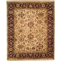 Jaipura Ivory/Plum Wool Hand-knotted Floral Area Rug (10' x 10')