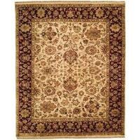 Jaipura Camel/Ivory/Plum Wool Hand-knotted Area Rug