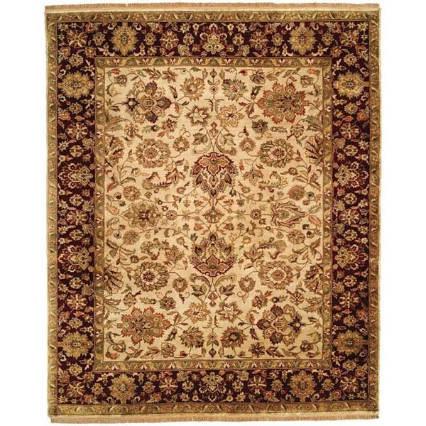 Shop Jaipura Ivory Plum Wool Square Hand Knotted Floral Area Rug 8