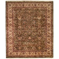 Kabir Green/Ivory Hand-knotted Wool Area Rug - 8' Round