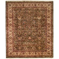 Kabir Green/Ivory Hand-knotted Wool Area Rug