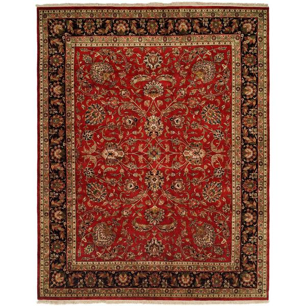Kabir Red Ivory Wool And Silk Hand Knotted Square Area Rug 10