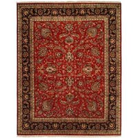 Kabir Red/Ivory Wool and Silk Hand-knotted Square Area Rug (10' x 10') - 10' square