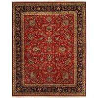 Kabir Red/Ivory Wool Hand-knotted Area Rug - 6' Square