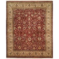Kabir Rust/Beige Hand-knotted Wool/Silk Area Rug (10'0 Square)