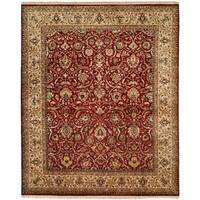 Kabir Traditional Rust/Beige Wool Silk Hand-knotted Round Area Rug (6') - 6' Round