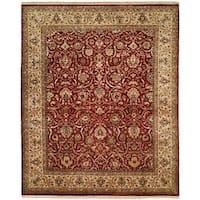 Kabir Rust/Beige Wool/Silk Hand-knotted Area Rug - 6' Square