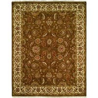 Lateef Earth Tones/Ivory Wool Hand-knotted Formal Area Rug (6' Square) - 6' Square